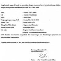 Lembar pernyataan Pengesahan Hasil Validasi Karya Ilmiah an. Nawati