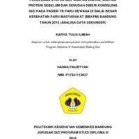 PERBEDAAN STATUS GIZI, ASUPAN ENERGI, ASUPAN PROTEIN SEBELUM DAN SESUDAH DIBERI KONSELING GIZI PADA PASIEN TB PARU DEWASA DI BALAI BESAR KESEHATAN PARU MASYARAKAT (BBKPM) BANDUNG TAHUN 2015 (ANALISA DATA SEKUNDER)