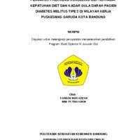 Pengaruh Frekuensi Konseling Gizi Terhadap Kepatuhan Diet dan Kadar Gula Darah Puasa pada Pasien Diabetes Melitus Tipe-2 di Wilayah Kerja Puskesmas Garuda Kota Bandung.