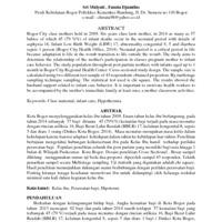 Artikel : HUBUNGAN KEIKUTSERTAAN DALAM KELAS IBU HAMIL<br /> TERHADAP PERILAKU PERAWATAN BAYI DI KOTA BOGOR TAHUN 2015